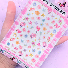 Watercolor Flower and Hot Air Balloon Sticker | Floral Resin Inclusions | Embellishment for UV Resin Crafts | Nail Designs