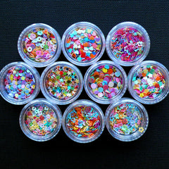 Assorted Rainbow Confetti in Various Shapes | Colorful Sprinkles | Kawaii Glitter Flakes | Resin Filling Materials | Nail Art Supplies (10pcs)