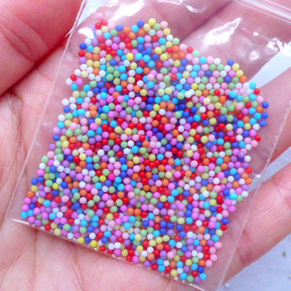 Dollhouse Bubblegum Candy | Miniature Gum Ball Candies | Colorful Nonpareil Sprinkles | Tiny Mini Acrylic Beads (1.5mm / 3 grams)