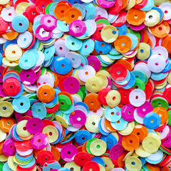Colorful Cup Sequins in 7mm | Sewing Supplies | Resin Craft (500pcs / 5 grams)