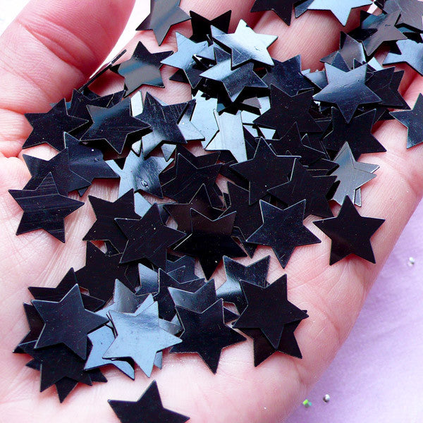 Black Star Confetti in 13mm | Party Decoration | Table Scatter | Resin Craft (150pcs / 5 grams)