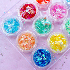 Iridescent Confetti | Translucent and Metallic Glitter Flakes | Irregular Shell Color Confetti | Nail Art Supplies (Set of 12 Colors)