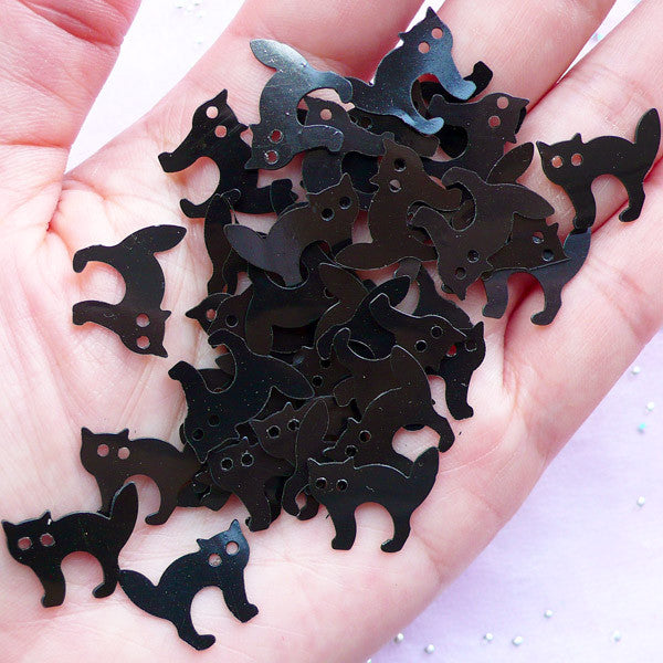 Black Cat Confetti | Halloween Decoration | Gothic Lolita Resin Craft (150pcs / 5 grams / 16mm x 14mm)