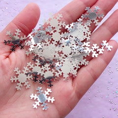 Silver Snow Flake Confetti | 19mm Snowflake Embellishments | Christmas Table Scatter & Card Making (4 grams)