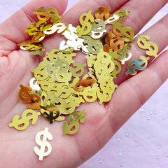 Gold Dollar Sign Confetti | Party Decoration | Table Scatter & Resin Craft Supplies (4 grams / 8mm x 15mm)