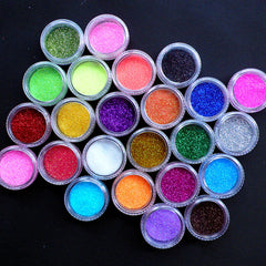 Craft Glitter Powder Assortment | Fine Loose Glitter for Nail Art Decoration | Iridescent Fairy Glitter | Holographic Dust | Kawaii Crafts & Glitter Roots Supplies (24 Colors Mix)