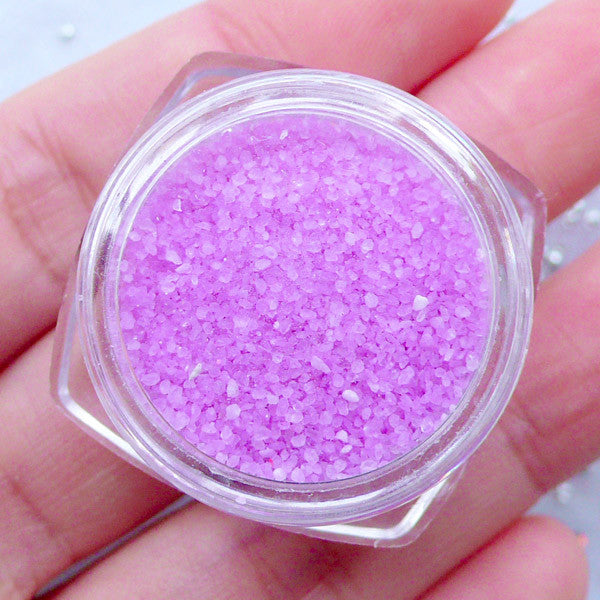 Artificial Coral Stones for Nail Deco | Faux Colored Sugar | Tiny Mini Gravel | Crystal Powder | Sprinkles for UV Resin Craft | Fake Food DIY (Purple)
