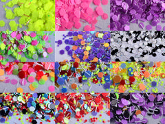 Mini Hexagon Confetti and Bar Glitter Mix in 1mm | Colorful Sprinkles for Nail Designs | Nail Art | Kawaii Resin Craft | Papercraft Supplies (Assorted Colors / 12pcs)