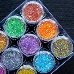 Assorted Holographic Glitter Dust Powder | Iridescent Sprinkles for Nail Decoration | Nail Deco | Kawaii Resin Art | Glitter Roots (Assorted Colors / 12pcs)