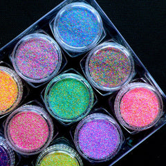 Assorted Glitter Powder | Sprinkles for Nail Art | Nail Decoration | UV Resin Art | Card Making | Scrapbook (Assorted Colors / 12pcs)