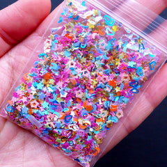 Rainbow Confetti Assortment | Holographic Sprinkles in Heart Star Flower Moon Teardrop Hexagon Shapes | Iridescent Glitters | Nail Art Supplies | Resin Crafts (Colorful Mix / 4 grams)