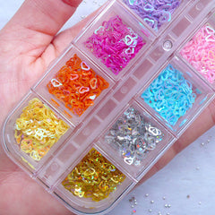 Outlined Heart Confetti Assortment | Tiny Mini Heart Sequin | Assorted Hollow Heart Sprinkles | Colorful Heart Glitter | Nail Art Design | Card Embellishments | Scrapbook Supplies (Box of 12 Colors / 4mm)