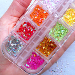 Mini Star Confetti | Tiny Star Sprinkles | Assorted Star Glitter Flakes | Nail Art Decorations | Card Making | Resin Craft Supplies (Box of 12 Colors / 3mm)