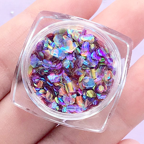 Aurora Borealis Mermaid Scales | Iridescent Hexagon Glitter | Confetti Supplies | Filling Materials for Resin Crafts (Mystery Night)