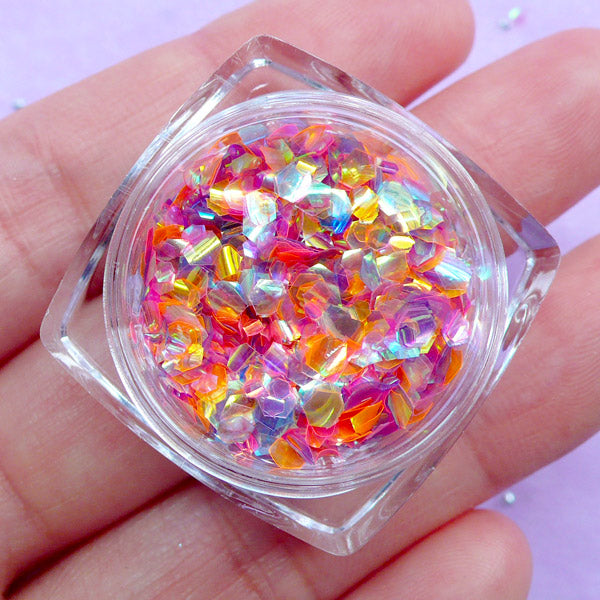 Kawaii Mermaid Scale Flakes | Aurora Borealis Hexagon Fish Scale Confetti | Iridescent Filling Material for Resin Art (Sunset Rainbow)