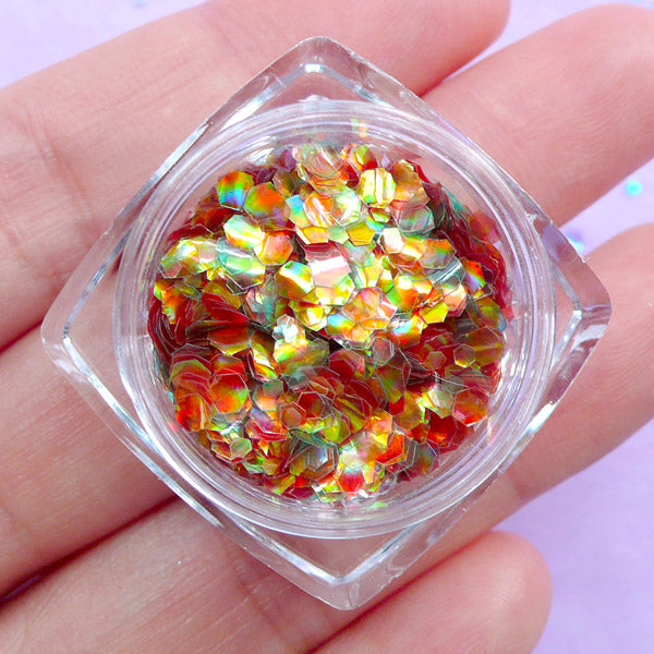 Fish Scale Confetti in Hexagon Shape | Iridescent Mermaid Scales | Aurora Borealis Flakes | Kawaii Crafts (Volcanic Flame)