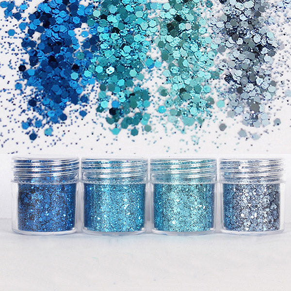 Blue Hexagon Glitter Assortment (4 pcs) | Bling Bling Confetti Flakes | Filling Material for Resin Crafts | Glitter Roots | Nail Art Supplies