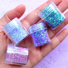 Assorted Hexagon Glitter in AB Purple Pink Green (4 pcs) | Iridescent Confetti | Filling Material for Resin Art | Bling Bling Nail Designs