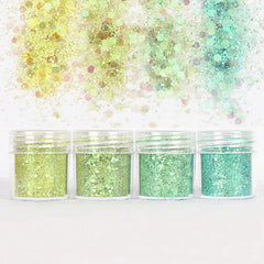 Iridescent Hexagon Glitter in Aurora Borealis Green (4 pcs) | Confetti Sprinkles for Resin Cabochon DIY | Bling Bling Nail Decorations