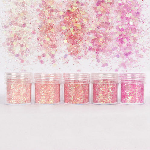 Assorted Iridescent Pink Glitter in Hexagon Shape (5 pcs) | Aurora Borealis Confetti for Kawaii Cabochon DIY | Bling Bling Sprinkles | Scrapbook Supplies