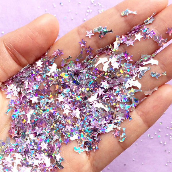 Dolphin & Star Confetti Mix | Kawaii Iridescent Sprinkles | Holographic  Glitters | Filling Materials for Resin Craft (Purple & Silver / 3 grams)