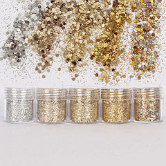 Christmas Glitters in Gold and Silver (5 pcs) | Hexagon Glitter Sprinkles | Bling Bling Festival Glitter Confetti | Resin Art | Scrapbooking