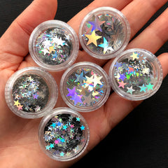 Holographic Star Confetti in Various Sizes | Assorted Iridescent Star Flakes | Hair Glitter Roots | Resin Craft Supplies | Scrapbooking (6pcs / 3mm to 10mm)