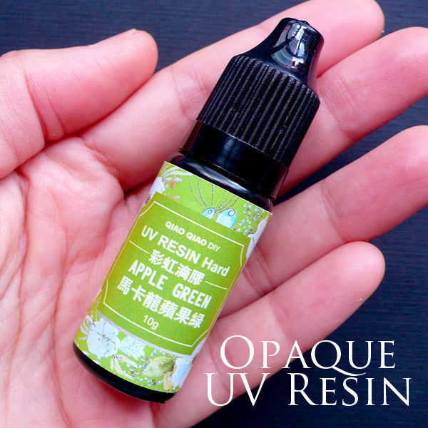 Opaque Resin | Colored UV Curing Resin in Hard Type | Ultraviolet Cured Resin | Solar Activated Resin | Kawaii Resin Supplies (10g / Opaque Apple Green)