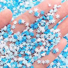 Snowflake Sprinkles | Polymer Clay Snow Flakes | Faux Food DIY | Miniature Cupcake Toppings | Kawaii Sweet Deco (5 grams)