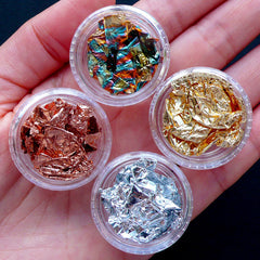 Colored Gold Foil and Silver Foil for Crafts | Rose Gold Leaf & Silver Leaf for Nail Art | Nail Designs | Resin Craft Supplies (Set of 4)