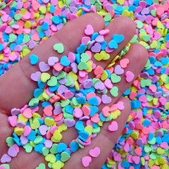 Kawaii Polymer Clay Toppings | Fimo Heart Sprinkles | Fake Cupcake Decoration | Faux Food Jewelry Making (Colorful Mix / 5 grams)