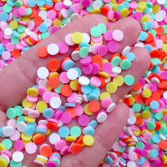 Colorful Polymer Clay Sprinkles | Fake Rainbow Toppings | Faux Round Dot Confetti Sprinkles | Kawaii Cupcake Jewelry Making (Assorted Mix / 5 grams)