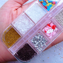 Fake Topping Assortment | Assorted Faux Toppings including Rainbow Confetti Sprinkles, Polymer Clay Fruit Slices, Micro Beads, Chocolate Flakes, Ice, Sugar, Rhinestones & Pearls
