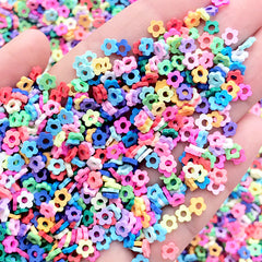 Hollow Flower Fimo Sprinkles | Colorful Floral Confetti | Kawaii Polymer Clay Fake Toppings for Faux Sweet Deco (Assorted Mix / 5 grams)
