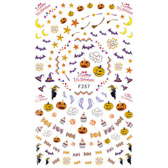 Halloween Trick or Treat Sticker | Black Cat Pumpkin Candy Witch Hat Stickers | Halloween Nail Design | Resin Inclusions