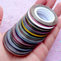 Metallic Nail Art Striping Tape in Mixed Colors | Adhesive Line Tape | Nail Decoration (Set of 30 Rolls)