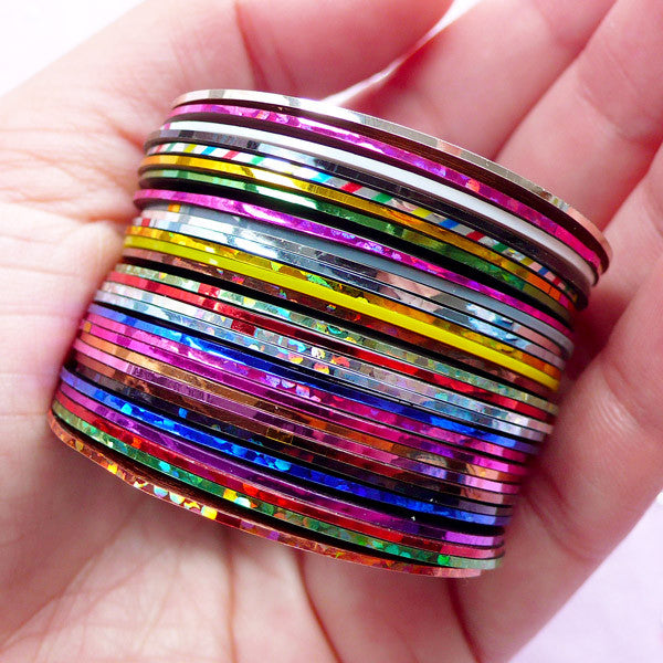 Metallic Nail Art Striping Tape In Mixed Colors Adhesive Line Tape