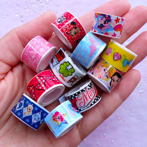 Cartoon Tape Sticker | Kawaii Character Deco Tapes | Diary Decoration & Scrapbooking Supplies (5 Rolls by Random / 1.2cm x 280cm)