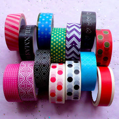 Washi Decorative Tapes | Kawaii Deco Tape | Home Decoration & Paper Craft Supplies (2 Rolls by Random / 1.5cm x 5 Meters)
