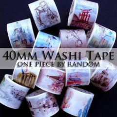 40mm Washi Tape | Backing for Kawaii Open Bezel | UV Resin Crafts | Cute Masking Tape | Planner Deco Tape | Home Decor | Paper Craft Supplies (1 piece by Random / 4cm x 7 Meters)