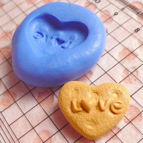 Biscuit Mold Heart Love Cookie 18mm Silicone Mold Miniature Kawaii Deco Sweets Fimo Polymer Clay Jewelry Charms Cabochon Flexible Mold MD152