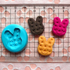 Kawaii Mold Biscuit Mold Bunny Rabbit Cookie 19mm Silicone Flexible Mold Mini Sweets Cell Phone Deco Jewelry Fimo Polymer Clay Mold MD150