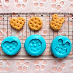 Set of 3 Cookie / Biscuit (Heart, Bunny / Rabbit, Round) (19 to 20mm) Silicone Flexible Push Mold - Miniature Sweets Charms MD144,148,150