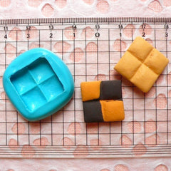 Cookie Mold Square Checkerboard Biscuit 18mm Flexible Silicone Mold Miniature Sweets Kitsch Jewelry Kawaii Cabochon Fimo Polymer Clay MD164