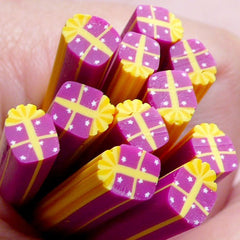 Polymer Clay Cane - Purple Gift Box - for Miniature Food / Dessert / Cake / Ice Cream Sundae Decoration and Nail Art CCH19