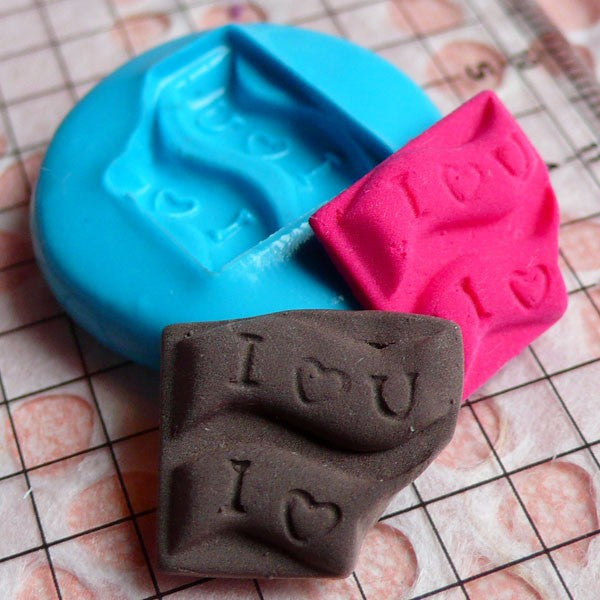 Bitten I love You Chocolate Bar Mold 16mm Silicone Flexible Mold Dollhouse Miniature Sweet Mold Fimo Cabochon Mold Kawaii Polymer Clay MD357