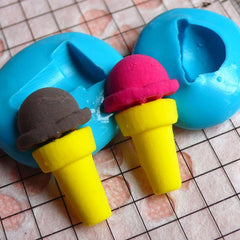 Ice Cream Mold with Scoop 10,15mm Flexible Silicone Mold Miniature Sweets Deco Fimo Polymer Clay Jewelry Charms Cabochon Mini Mold MD801