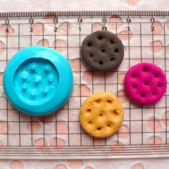 Round Cookie Mold Biscuit Mold 19mm Silicone Flexible Mold Kawaii Miniature Sweets Mold Wax Fimo Polymer Clay Mold Cabochon Charms MD144