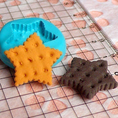 Silicone Mold Flexible Mold - Star Shaped Cookie / Biscuit (21mm) Miniature Food, Jewelry, Charms (Resin, Paper Clay, Fimo, Gum Paste) MD149