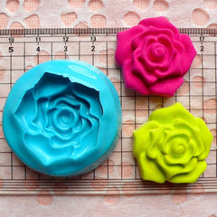 Flower Rose Mold 30mm Flexible Silicone Mold Fondant Mold Gum Paste Cupcake Topper Cake Decoration Wax Resin Fimo Clay Jewelry Mold MD779